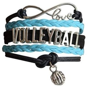 Girls Volleyball Bracelet - Black & Turquoise